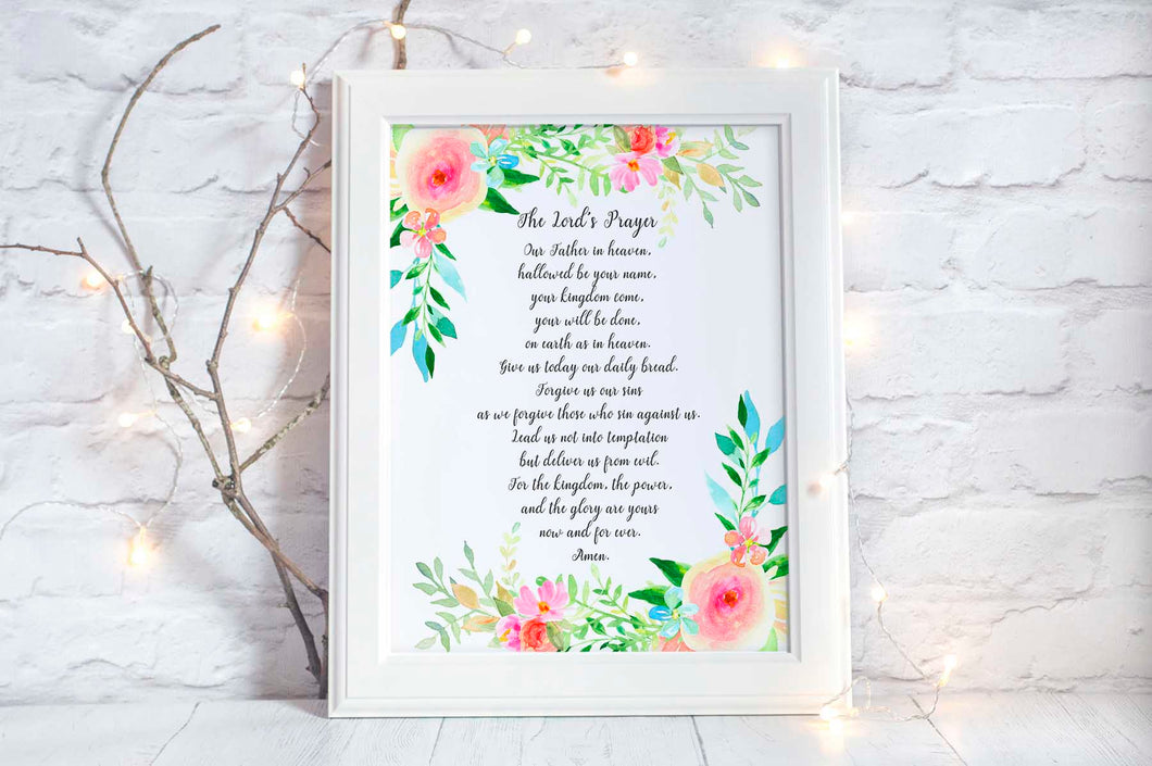 The Lord's Prayer Poster, Scripture Wall Art, Religious Wall Art