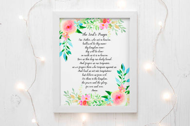 The Lord's Prayer Wall Art Print, Prayer Wall Decor, Christian Wall Art