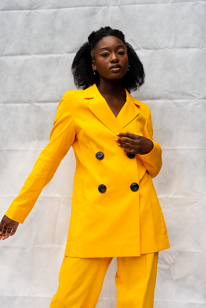 DARCY 1 : LADIES DOUBLE BREASTED JACKET /  YELLOW