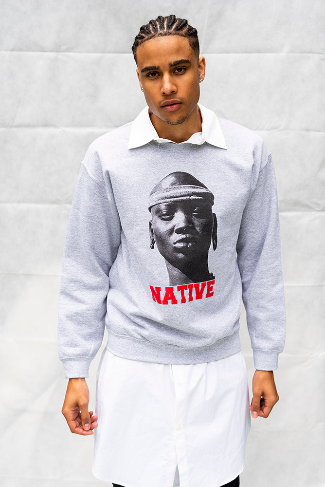 NATIVE - UNISEX TOP / LIGHT GREY