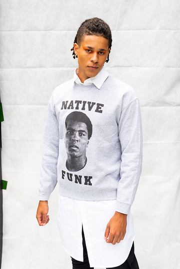 NATIVE '' FUNK '' ALI  - UNISEX TOP / LIGHT GREY
