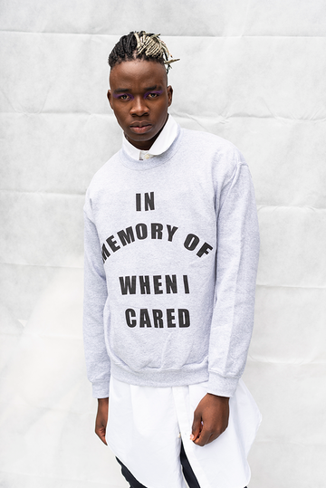 IN MEMORY OF WHEN I CARED - UNISEX TOP / LIGHT GREY
