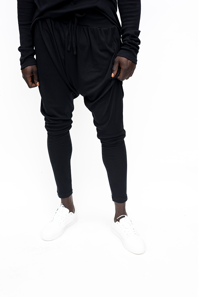 BO D : MENS DRAWSTRING DROP  CROTCH  PANTS / BLACK
