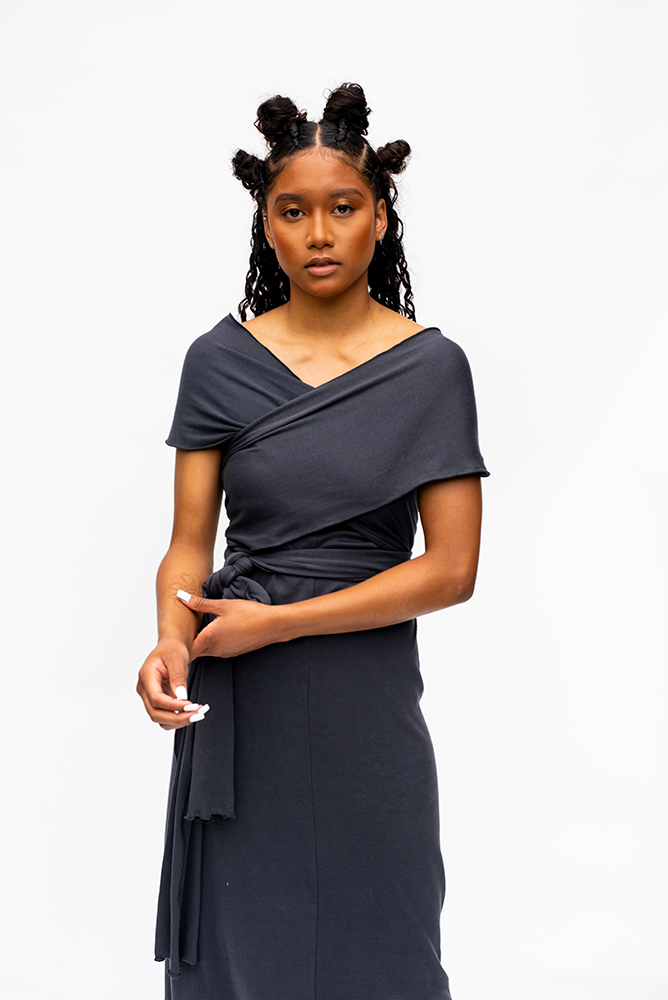 DORIS : WRAP MULTI DRESS / CHARCOAL