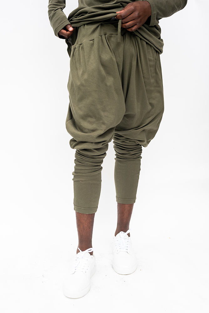 BO D : MENS DRAWSTRING DROP CROTCH PANTS / KHAKI