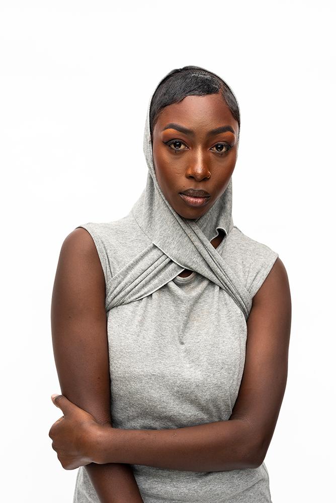 TASHA : WRAP COLLAR DRESS / GREY