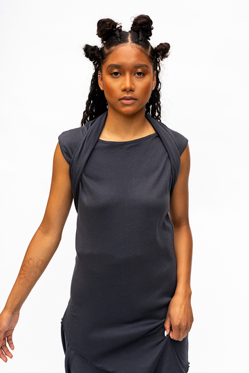 TASHA : WRAP COLLAR DRESS / CHARCOAL