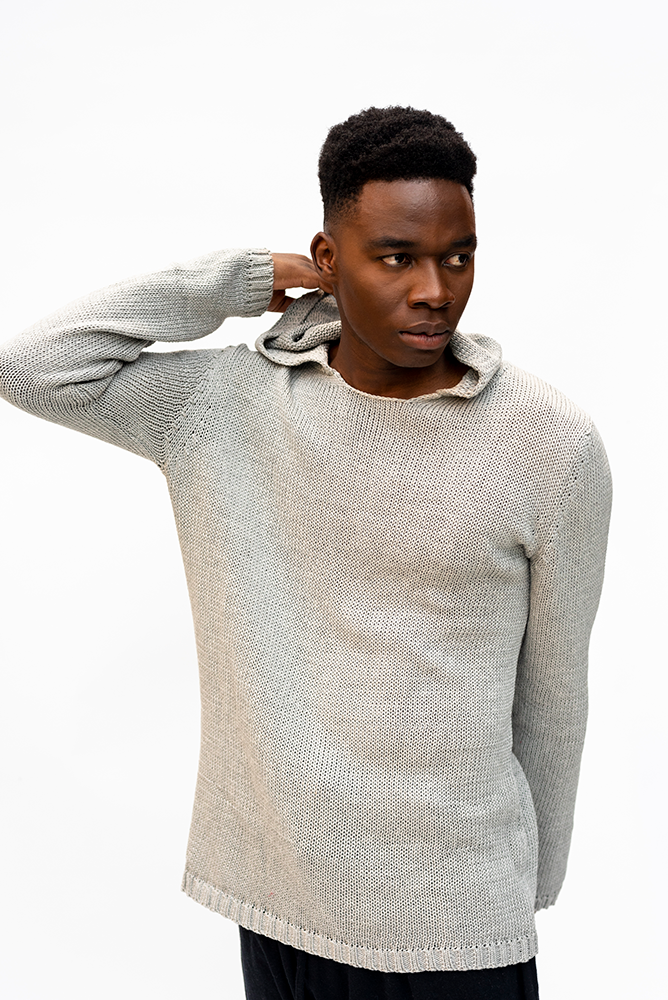 SASHA : MESH HOODIE UNISEX KNIT / LIGHT GREY