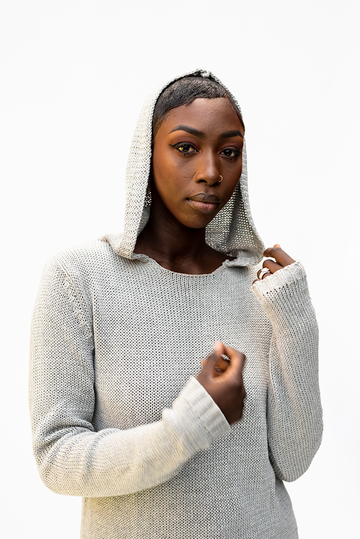 SASHA : MESH HOODIE UNISEX KNIT : LIGHT GREY