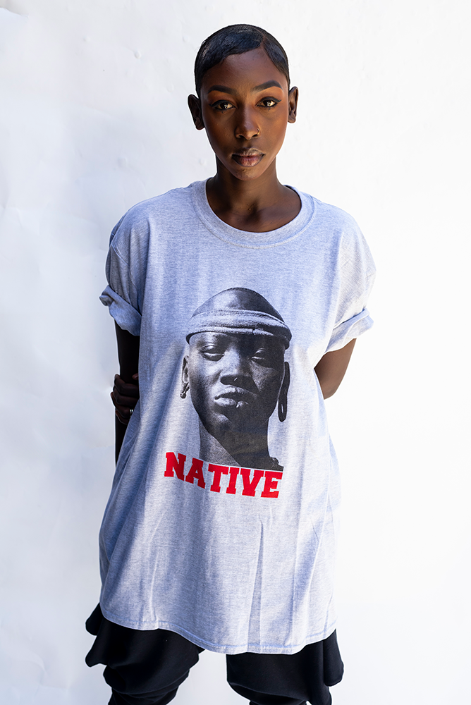 NATIVE PRINT UNISEX T'SHIRT / LIGHT GREY