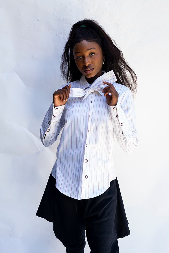 FAY : FLY FRONT / WIDE CUFF / NECK TIE / CONTRAST STRIPES SHIRT