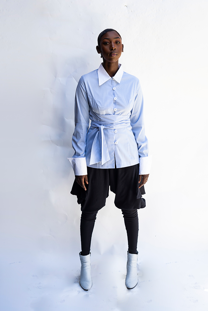 LUCY : CONTRAST COLLAR / CUFF FINE STRIPE LIGHT BLUE SHIRT / LIGHT BLUE