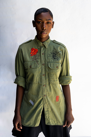 K-ROSE : EMBROIDERED ARMY STYLE UNISEX SHIRT