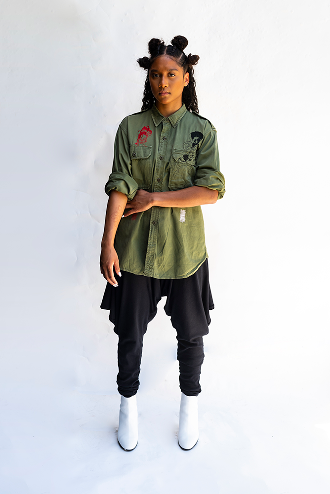 K - MUSIC MAN : EMBROIDERED ARMY STYLE UNISEX SHIRT
