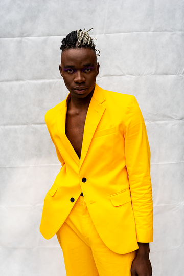 MORGAN : MENS TWO BUTTON JACKET / YELLOW