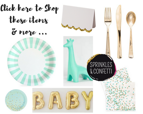 Mint & Gold Baby Shower Party Supplies | Sprinkles & Confetti