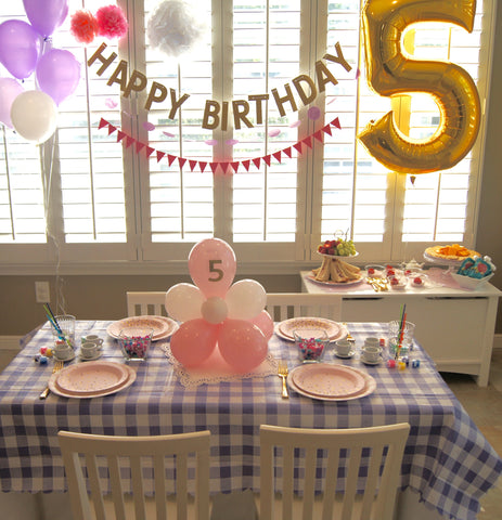Happy Birthday Party banner with #5 Balloon