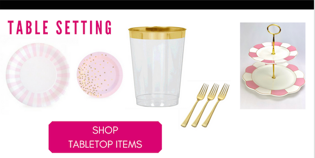 Tabletop items- pink plates, cups with gold trim, gold forks, pink tiered cakestand