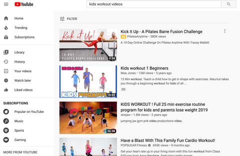 You Tube workout for kids