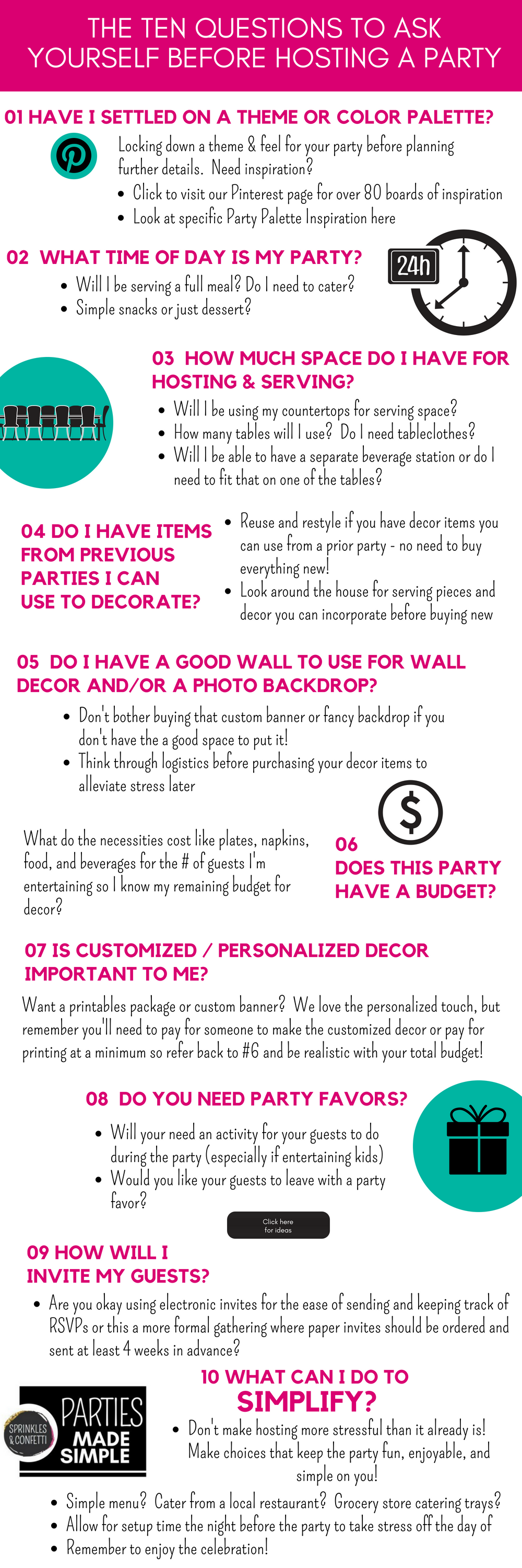 Ten Questions to ask yourself when planning a party