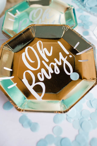 Oh baby gold Plates | baby shower