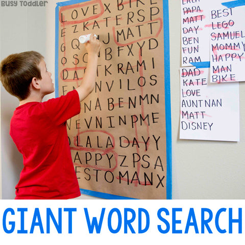 Homeschool Activity Giant Word Search