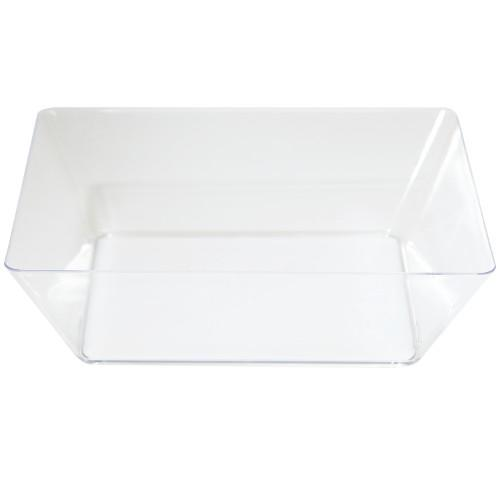 clear rectangular shaped plastic serving bowl