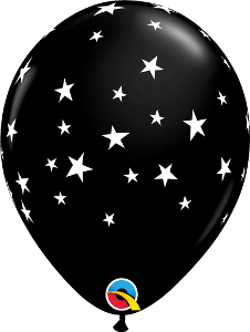 "11"" Latex Balloon Black Star Balloon"