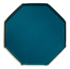 dark teal and gold dinner plate