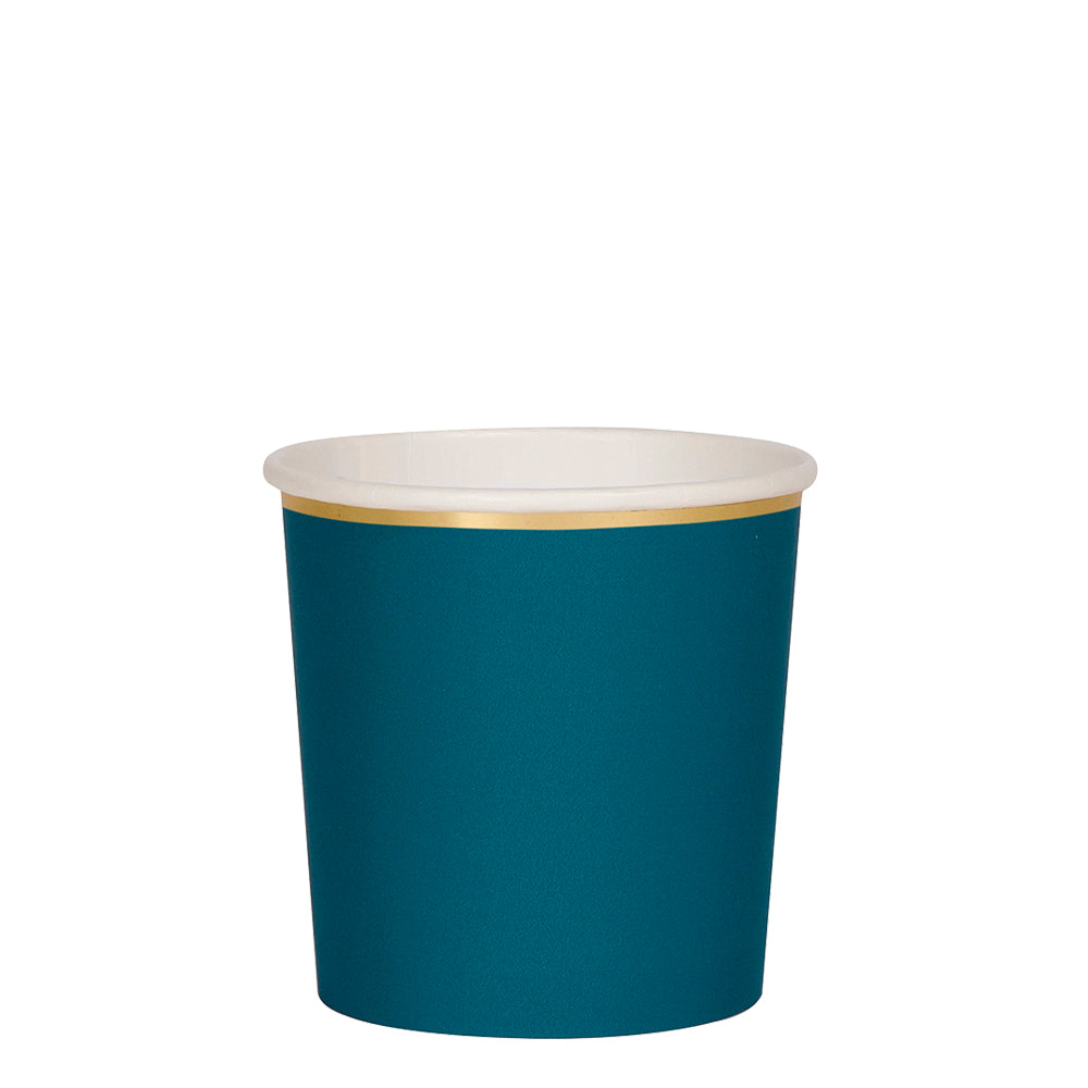 dark teal and gold paper tumbler cups