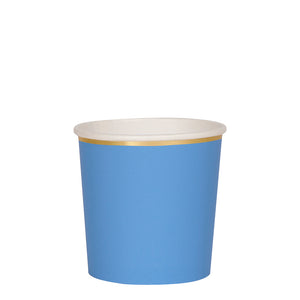 Blue and gold, paper tumbler cup