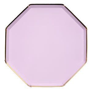 purple and gold dinner plate, hexagon