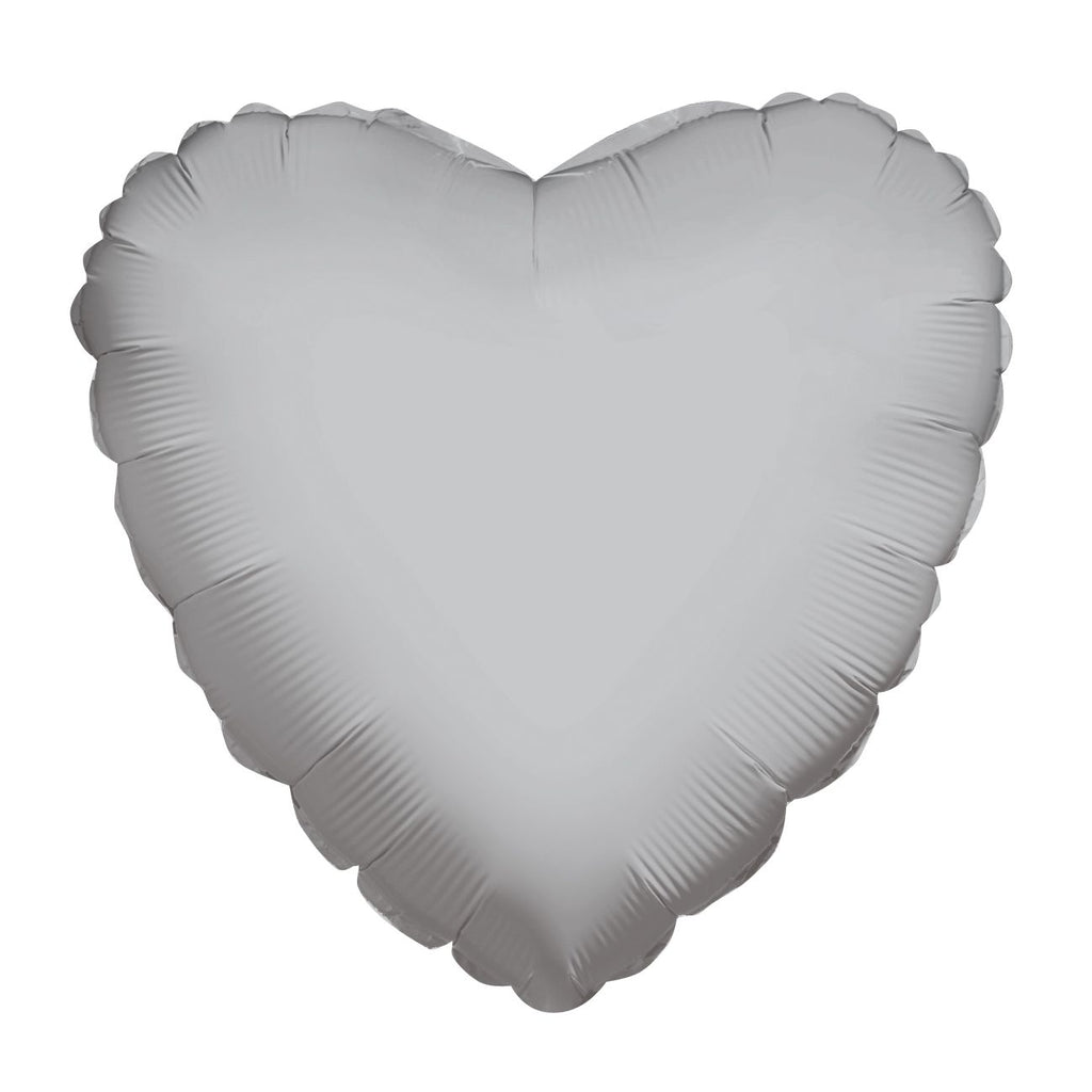 "18"" silver heart shaped foil balloon"
