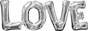 Silver Love foil balloon.  Letters all one piece.