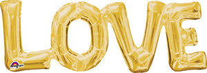 Gold Love foil balloon.  Letters all one piece.