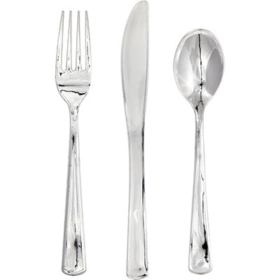 metallic silver fork, knife, and spoon set