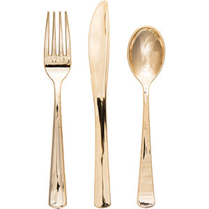 METALLIC GOLD FORKS, KNIVES & SPOONS