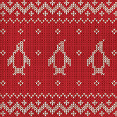 "red napkin with fun penguin ""sweater"" print"