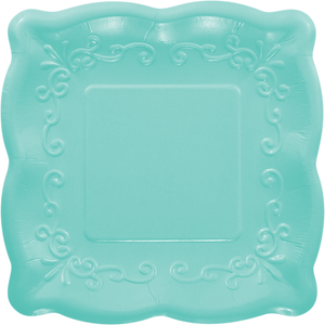 aqua square plate with embossed scalloped edges
