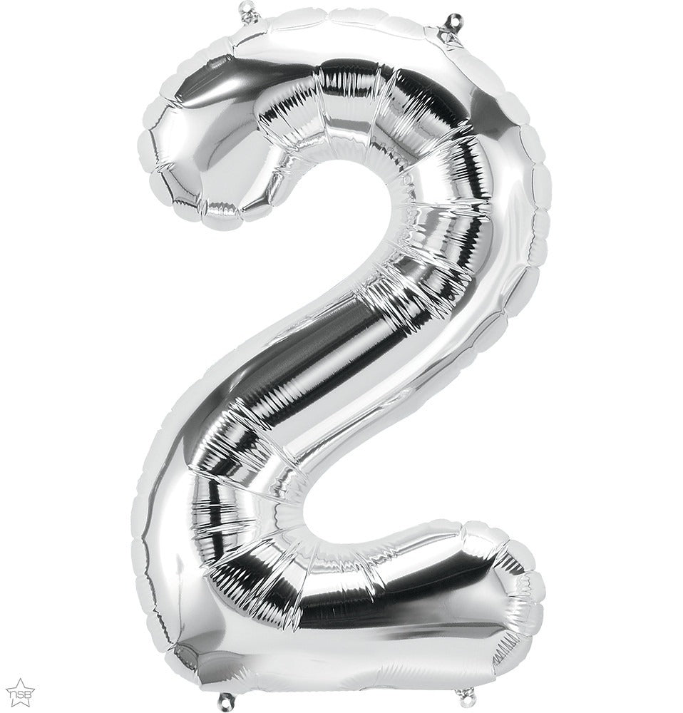 "34"" Large Silver Number Balloons"
