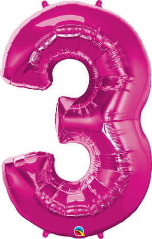 "34"" #3 Pink Foil Qualatex Number Balloon"