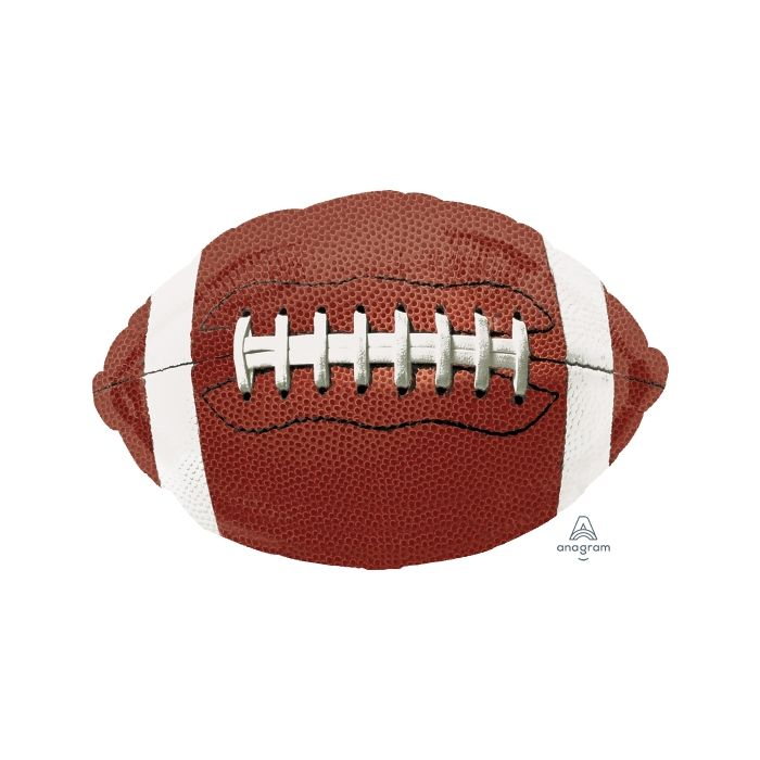 "31"" football shaped balloon featuring brown football and white strings design"