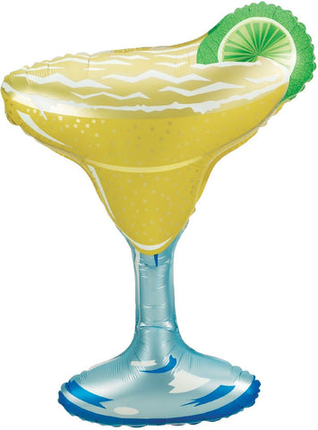 Large glass with yellow/green margarita and a lime on edge | Fiesta balloon | party supplies