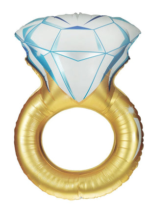 Engagement diamond ring balloon with white/silver foil top and gold ring bottom perfect for your bridal shower or engagement party