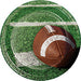 Green plate with white field marketing and brown football design