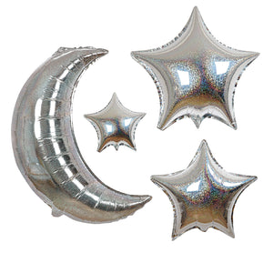 silver holographic moon & star balloons | 6 styles included
