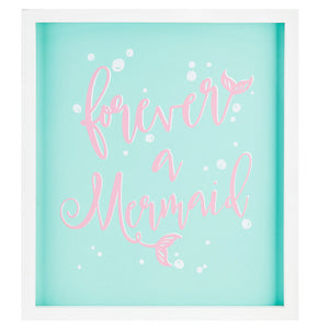Forever a Mermaid Party Decor Aqua blue background sign with pink font