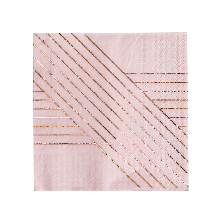 Pale Pink Striped Cocktail Napkins