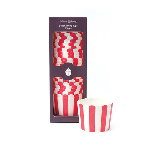 red & white baking stripe small baking cup with vertical stripes