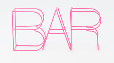 hot pink bar letters in metal wire